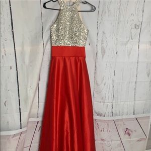 Dresses & Skirts - Red and Silver Sparkly Formal Prom Dress Ball Gown